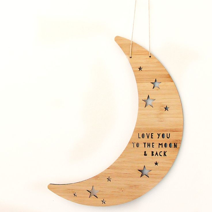 Proudly designed and laser cut in house in our Melbourne studio.    A beautiful piece for your home - Gorgeous shaped bamboo moon featuring laser cut stars and the sweet sentiment Love you to the moon