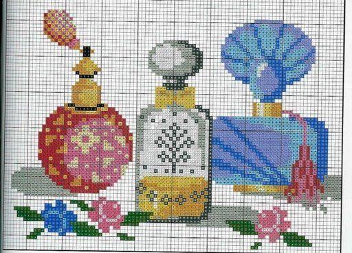0 point de croix bouteilles de parfum - cross stitch bottles of perfume
