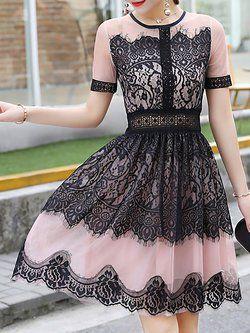 Vestido encaje negro y rosa