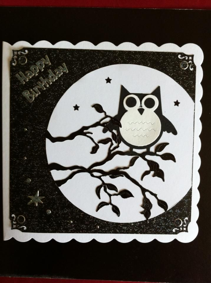 "Owl by Moonlight Birthday Card. Size is 6""x 6""."