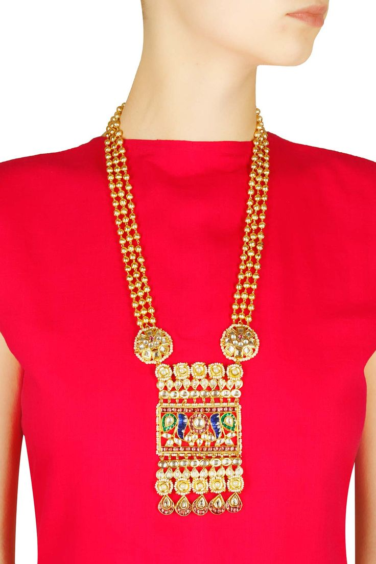 gold finish kundan dancing peacock pendant bead necklace available only at Pernia's Pop Up Shop.