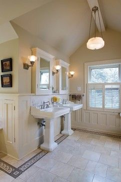 Vintage Inspired, Limestone Bath craftsman bathroom- Schoolhouse Electric, Visual Comfort (retail version is circa lighting) and Hudson Valley Lighting.