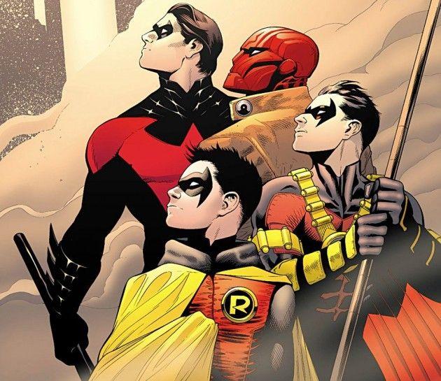 Dick Grayson, Jason Todd, Tim Drake e Damian Wayne. Arte de Patrick Gleason.