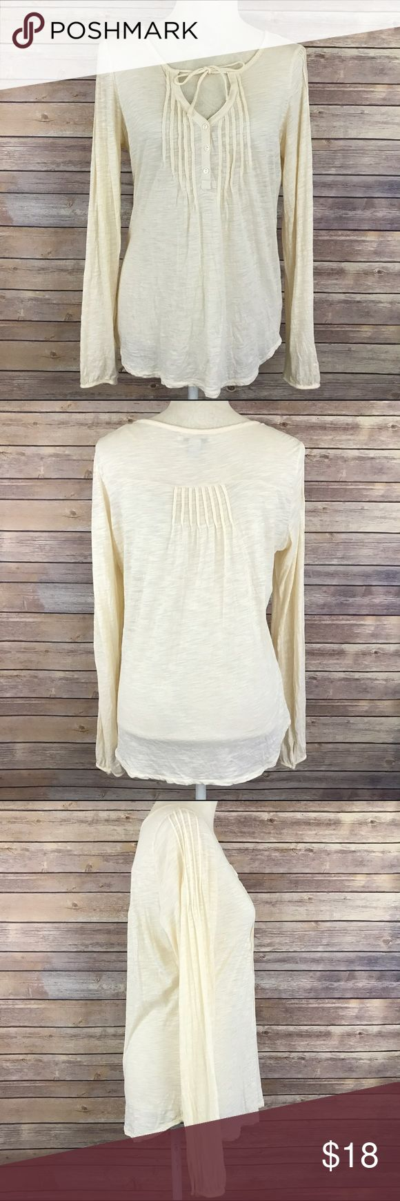 "Lucky Brand Knit Wear Button Down Cream Tee Medium Bust: 20.5"" Length: 26.5""  Condition: No Rips; No Stains  60% Cotton 40% Modal   📦I ship orders within 24 Hours! {Except Weekends}📦  🚫No Trades🚫No Holds🚫 Lucky Brand Tops Tees - Long Sleeve"