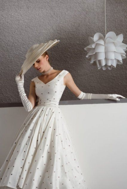 1950s White Spotted Dress. Love the dress, not so much the gloves