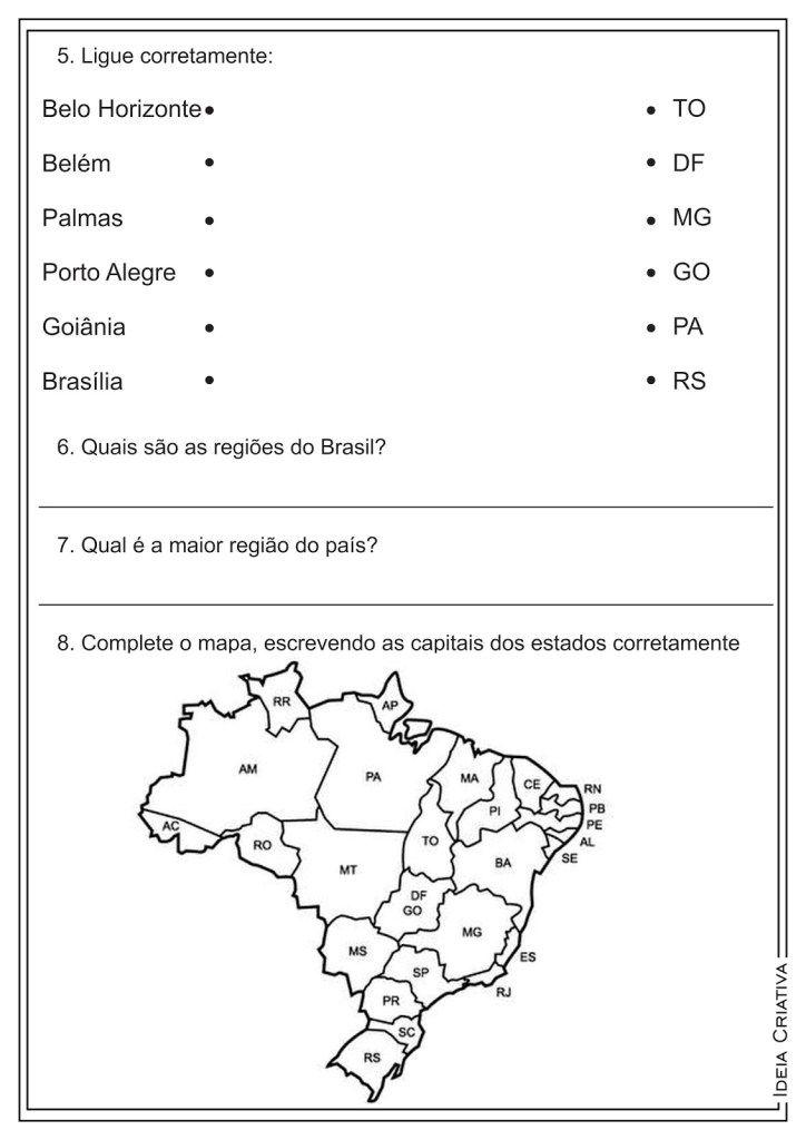 Atividades Sobre Estados Capitais E Regioes Do Brasil Geografia