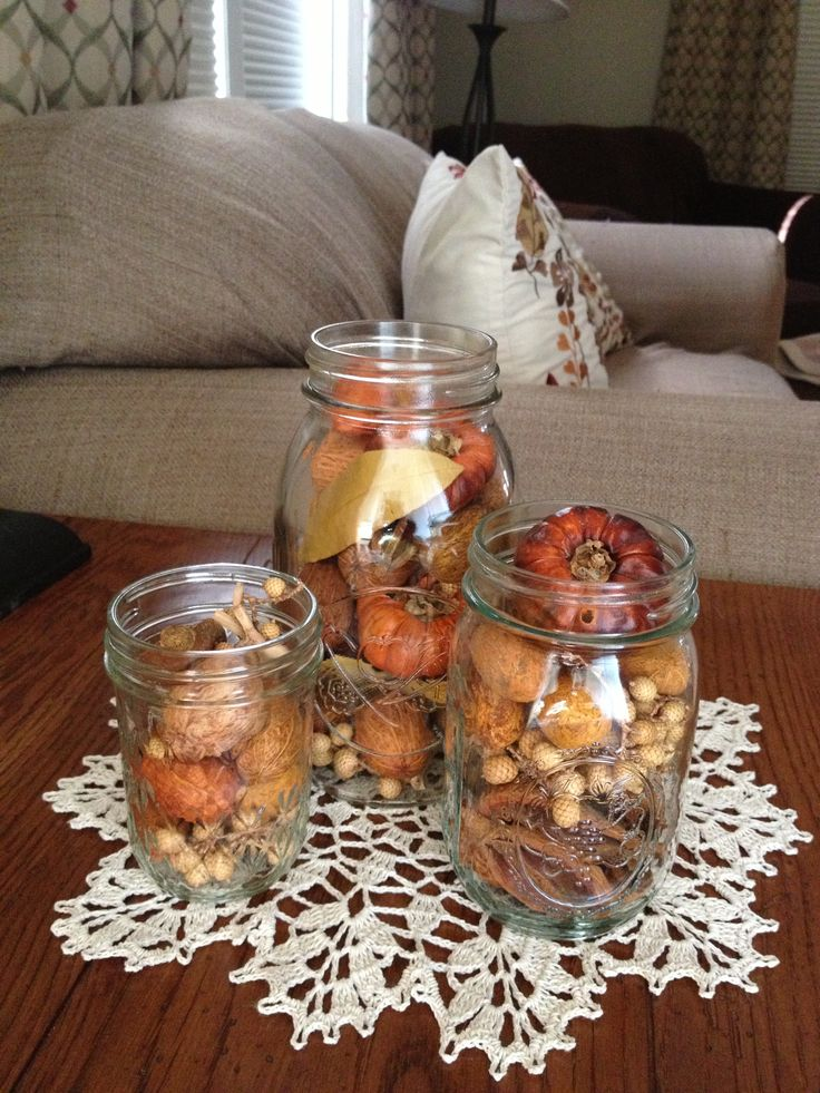 47 best home frugal fall decor images on pinterest for Pictures of fall table decorations