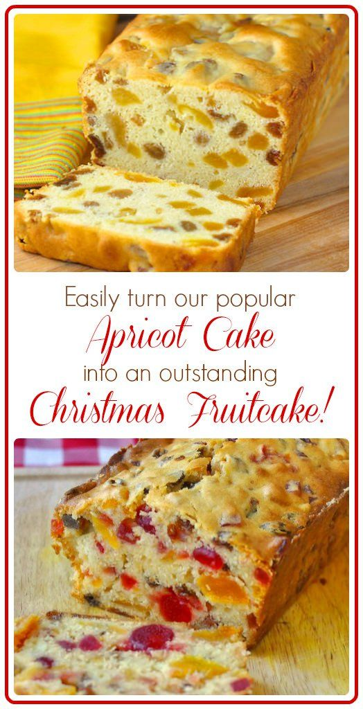 Apricot Light Fruitcake. This moist, spice-less fruitcake is one of our family favorites. It is not nearly as heavily flavored as dark fruitcake. Since no spices or molasses are used this cake relies purely on the flavor of the dried fruits.