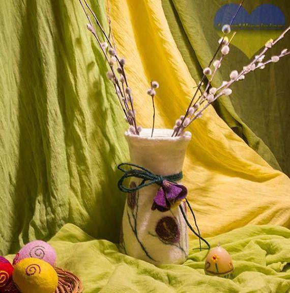 Wet Felted Vase Felt Easter Decor Waldorf Easter Waldorf
