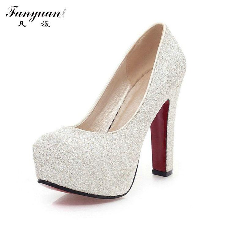 $45.99 (Buy here: https://alitems.com/g/1e8d114494ebda23ff8b16525dc3e8/?i=5&ulp=https%3A%2F%2Fwww.aliexpress.com%2Fitem%2F2015-New-Brand-Red-Bottom-High-Heels-Glitter-wedding-shoes-Pumps-hot-sale%2F32292627185.html ) 2016 Women High Heels  Wedding Shoes Lady  Platforms Silver Glitter Rhinestone Bridal Shoes Square High  Heel Party Pump for just $45.99