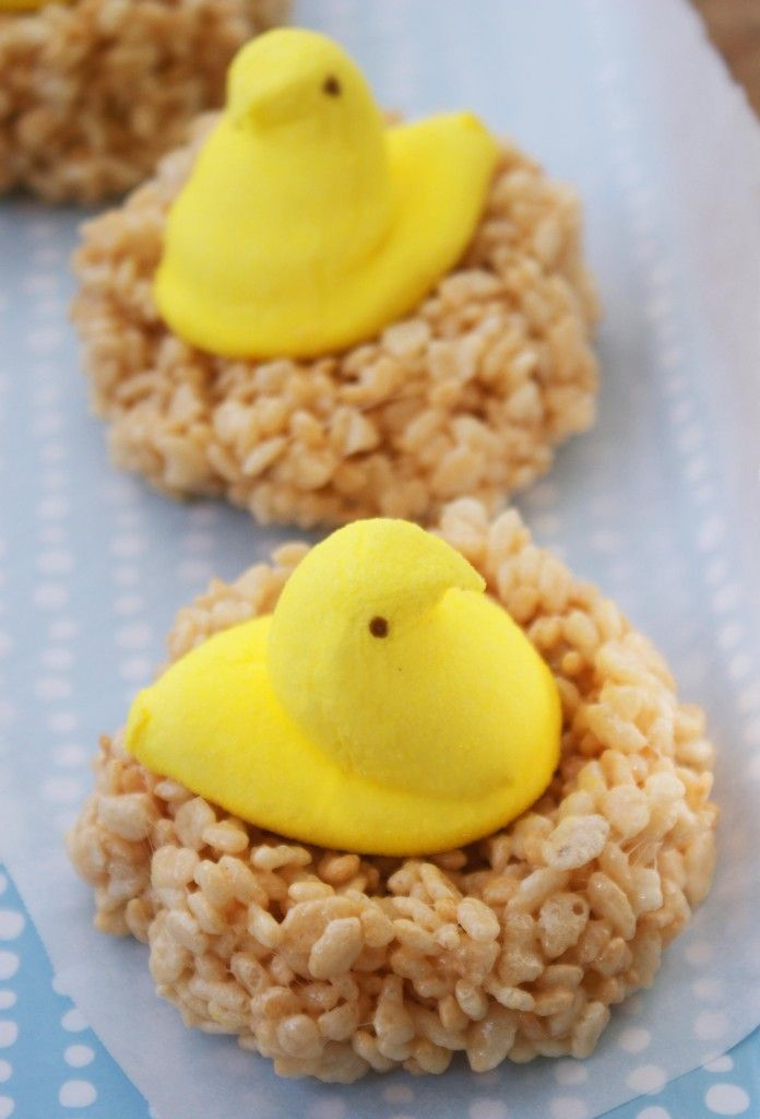 Cute and super easy. Cute for Easter. Peeps sitting on Rice Crispy Treats nests.