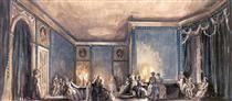 """The scene of the ball. Set Design for Tchaikovsky's opera """"Queen of Spades"""" - Alexandre Benois"""