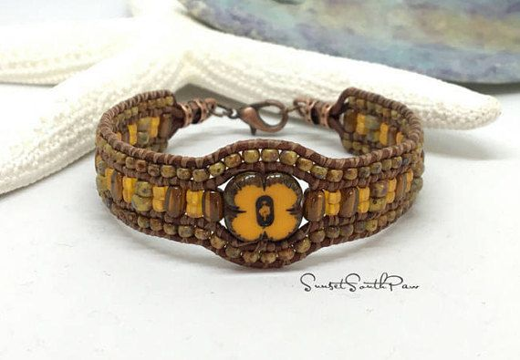 BEADED LEATHER CUFF Bracelet Chic Leather Bracelet  BY SUNSET SOUTHPAW #fashion #style #shopping #beadedbracelet #cuffbracelet #handmade #jewelry #sunsetsouthpaw #beadedjewelry #etsy #etsyseller #gifts #leatherbracelets