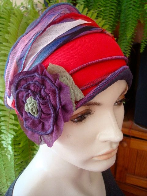 Womens Strawberry Red Purple Chemo Hat slouchy Hat Headwear Soft  Hat with PurpleFlower by GypsyLoveHeadbands on Etsy https://www.etsy.com/listing/216958710/womens-strawberry-red-purple-chemo-hat
