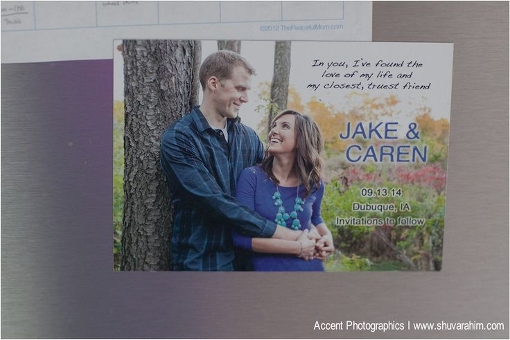 engaged couple on magnet with wedding date photo