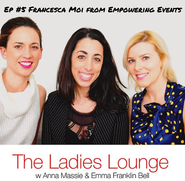 Francesca Moi was our super FUN guest for Episode #5!! What a hoot. This episode is jam-packed with tips and strategies for you to really get ahead! Francesca's story is nothing short of amazing and inspiring going from life-coach to 6 figures in 8 months by using the power of MeetUp events!! - WOW! check it out and subscribe here - we will love you if you do xx https://itunes.apple.com/au/podcast/the-ladies-lounge/id1135933189?i=373828623&mt=2