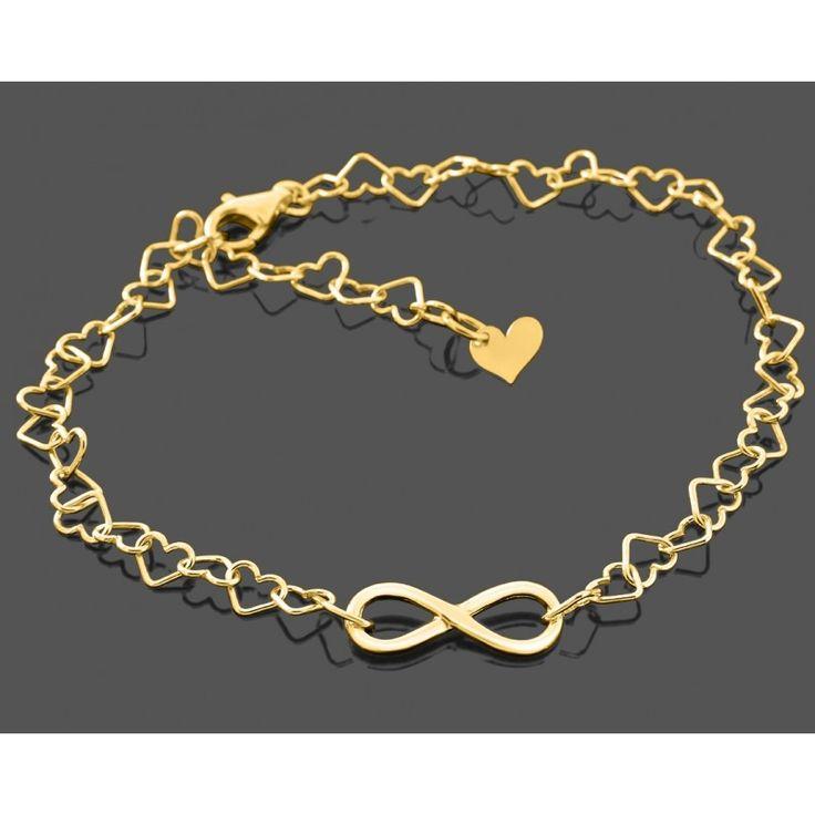 Ein wunderschönes Armband mit Herzgliedern aus 925 Sterling Silber. In das Armband wurde ein schönes Unendlichkeitszeichen aus 925 Sterling Silber eingefasst. Die Armbandlänge kann dank der Herzglieder ganz einfach angepasst passt werden. Das komplette Schmuckstück wird in Juwelierqualität hochwertig vergoldet.