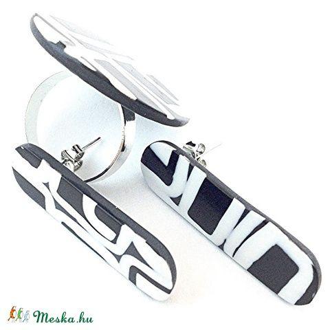 Meska - Fekete-fehér minimal gyűrű és Calipso fülbevaló ékszerszett Browny kézművestől