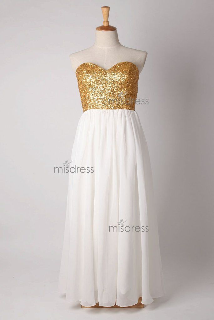 Strapless Sweetheart Gold Sequin Ivory Chiffon  Long Bridesmaid Dress