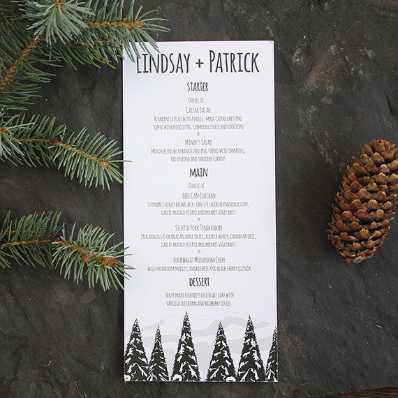 Wedding Menu Snow Mountain Rustic Tree Invitation Suite Camping Place Card, Table Number, Invitation Card Invite by Pink Umbrella Designs