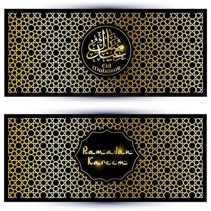 Eid Mubarak Golden Banners Card  http://www.cgvector.com/50-vector-graphics-eid-greeting-card-and-wallpaper/