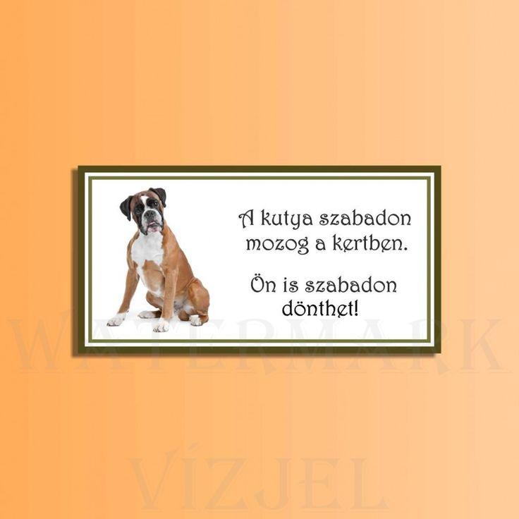 kutya, Téglalap alakú kutyás tábla., Falra-való