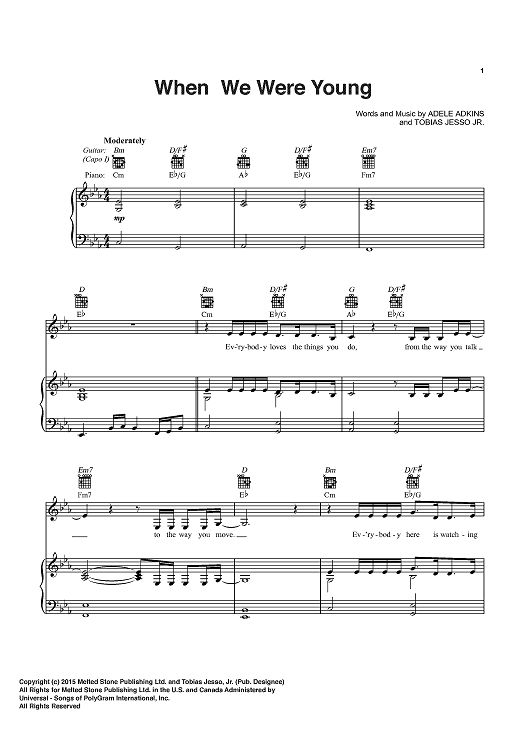 When We Were Young Sheet Music By Adele