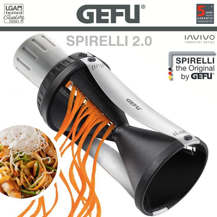 Gefu - Spiralschneider SPIRELLI 2.0 - Mit Gemüsehalter - Leckeres Gemüse in appetitlichen Julienne-Endlos-Spiralen: Praktische Verschenk-Idee mit Genuss-Attitüde! Der einrastende Gemüsehalter mit nachschiebbarem Stempel sorgt für eine effiziente Ausnutzung des Gemüses.