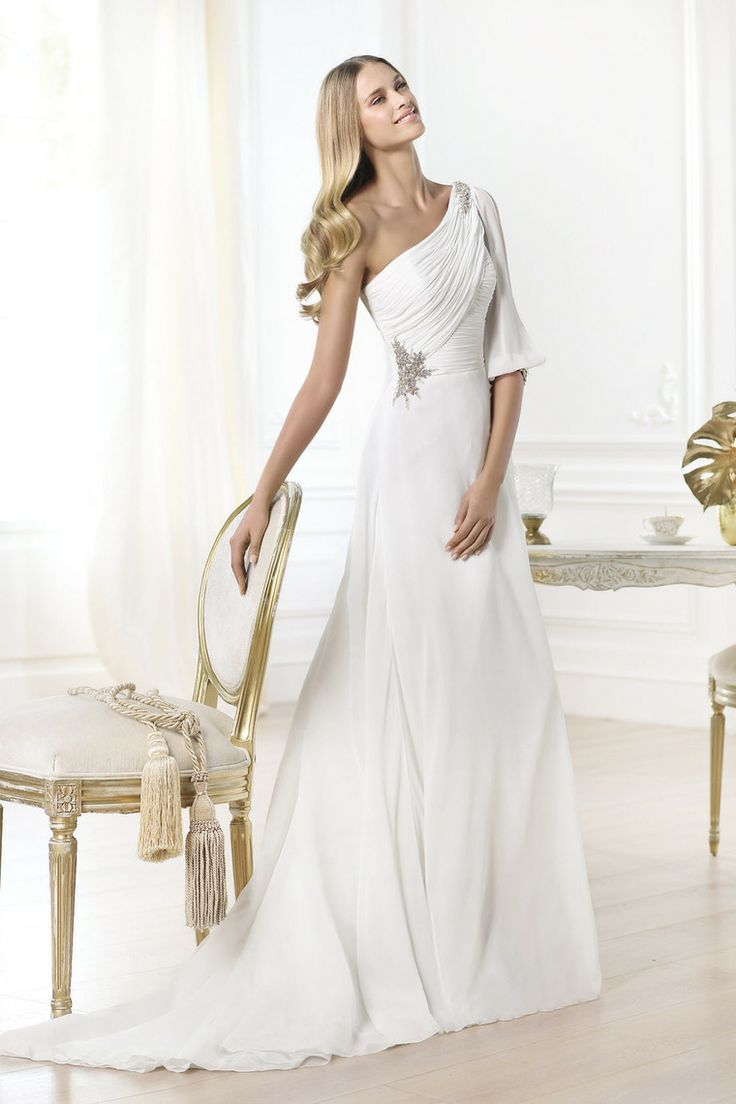 One Sleeve Princess Chiffon Wedding Dresses Ruffled&Beaded