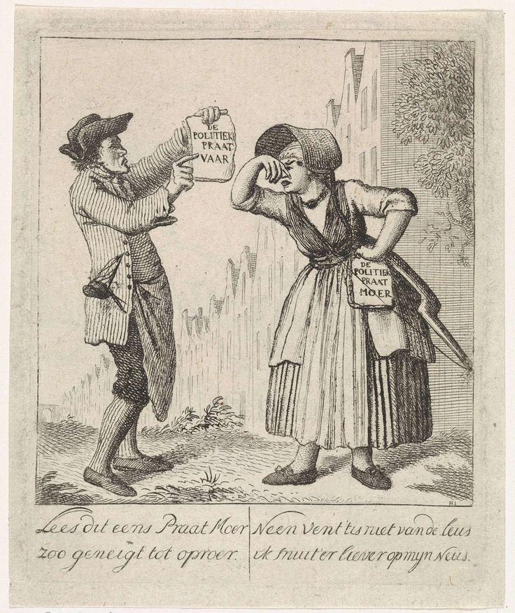 Joannes Hulstkamp | Politieke satire, Joannes Hulstkamp, 1774 - 1786 | Links een man met een tekstblad in zijn hand: de politieke praatvaar. Rechts een vrouw die in haar neus knijpt en met een tekstblad in haar andere hand: de politieke praatmoer. Onderaan in de marge: Lees dit eens Praat Moer zoo geneigt tot oproer // Neen vent 'tis niet van de leus ik snuit 'er liever op mijn neus.