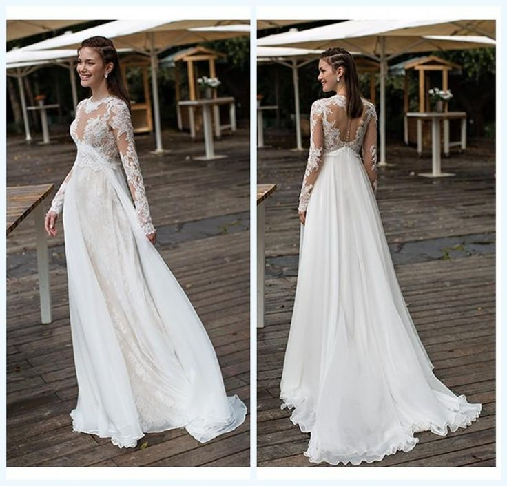 Empire Maternity Wedding Dresses Lace And Chiffon Long Sleeves Beach Bridal Gowns 2016 Plus Size Covered Button 2015