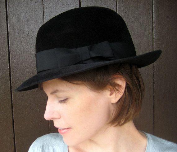 Unisex Black Fedora Vintage Style Felt Hat Handmade by Tissage