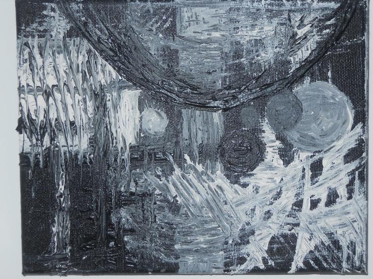 APOCALYPSE    Tableau unique petit format peint en 2011  Technique : Peinture à l'acrylique   La toile est montée sur châssis bois et protégée par un vernis afin de donner une très bonne longévité.