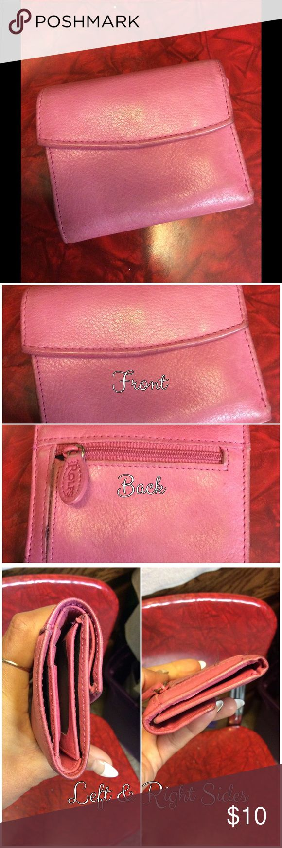 Rolf's Wallet Pink leather billfold. Gently used. Some discoloration here & there. Please ask all questions before purchasing. Rolf's Bags Wallets