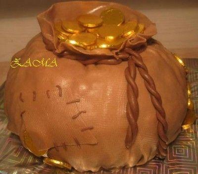 Торт «Мешочек с монетами» : Торты (украшения шаг за шагом)