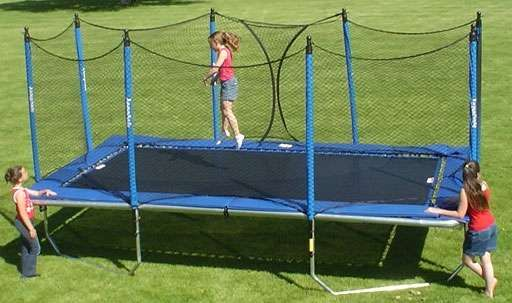 Dare to Fly Higher! Choose from 5 different sizes of rectangle trampolines to fit any location and yard size. All American® 10 x 17 Foot Olympic Size Rectangle Backyard Trampoline. Unique All Galvanized Construction is Built to Last!  Made in the USA. #Trampolines