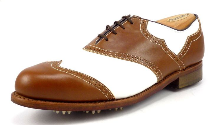 Footjoy Mens Golf Shoes Size 7 Classics Spectator Wingtip White/Brown