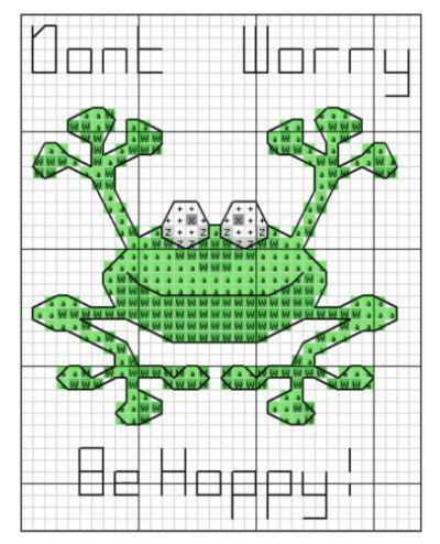 EMBROIDERY – CROSS-STITCH / BORDERIE / BORDUURWERK – FROG / GRENOUILLE / KIKKER - Happy Frog Cross Stitch