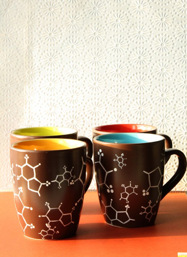 Cafeine molecule mugs - set of four | Community Post: 15 Gifts For The Science Lovers On Your List