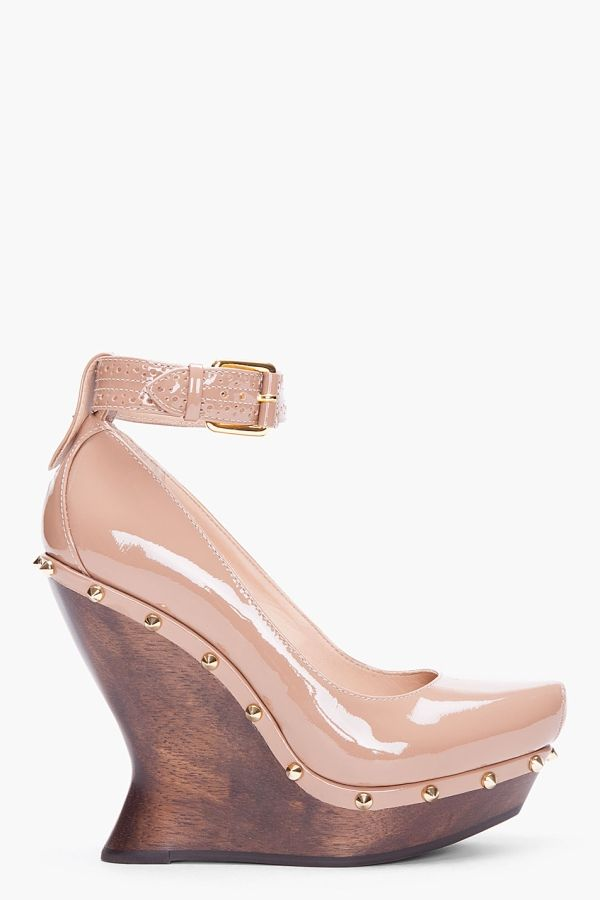 Taupe Patent Brogued Wedges by valarie
