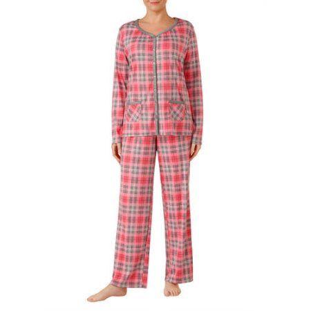 Secret Treasures Women's V-Neck Knit Pajama 2 Piece Sleepwear Set (S-3x), Beige