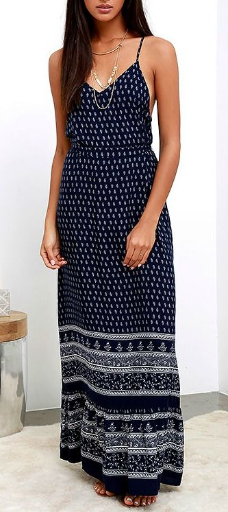 Best of New: Bright Morning Navy Blue Paisley Print Maxi Dress