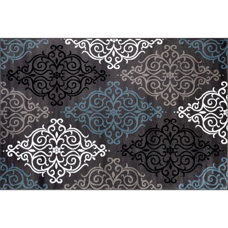World Rug Gallery Alpine Modern Transitional Soft Damask Rug, Dark Grey