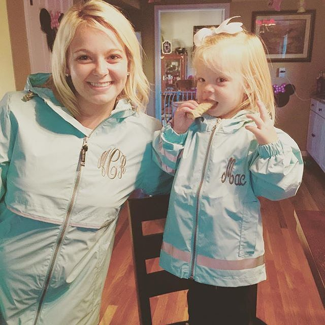 """""""We are dying over this adorable picture from @morgan_clark13! It's true, Monogrammed New England Rain Jackets are now available for all ages! Shop now on…"""""""