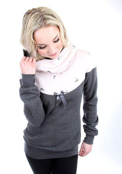 """Hoodies - MEKO """"Flora"""" Hoodie Damen Katze Grau Rosa - ein Designerstück von meko bei DaWanda"""