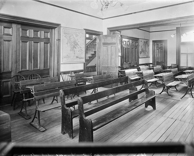 The large school room, Miss A. M. Harmon's Home and Day School, Ottawa Canada, January 1894. #Victorian #school #Canada #1800s