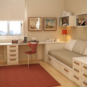 Office area with day bed and storage