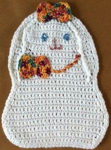 εїз Easter Bunny Crochet Dishcloth. Simply adorable!