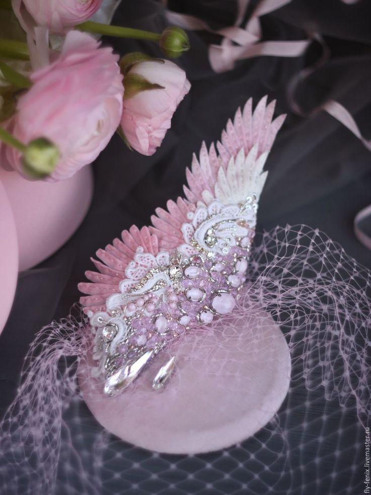"""Купить Вуалетка с крылом """"Венера"""" - spring collection 2016 - вышивка, авторская работа, юлия горина"""