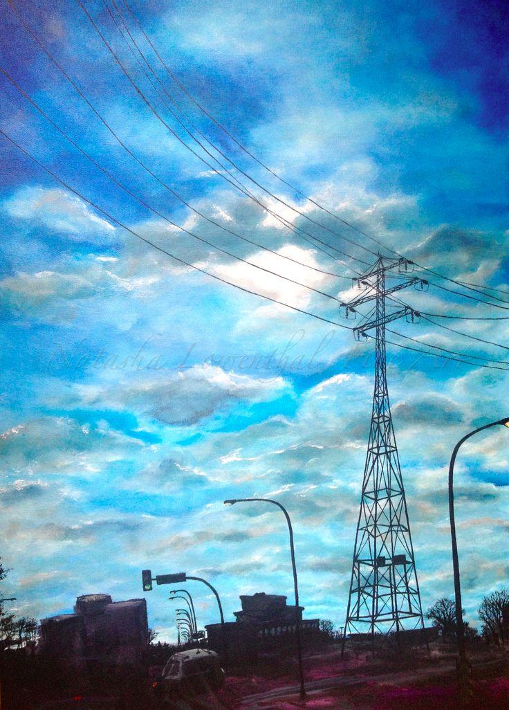 "Title: Powerful Sky Medium: Acrylic on canvas Size: 24""X36"" Value: $1200 info@natashalowenthal.com"